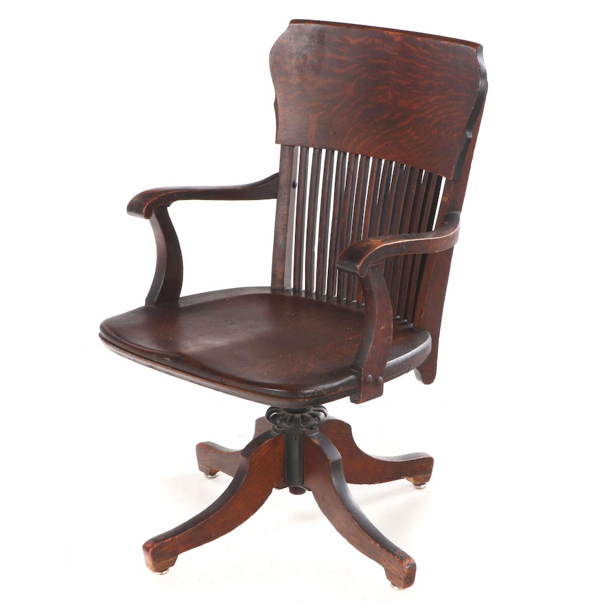 Oak Bankers Chair, Early 20th Century, circa 1920