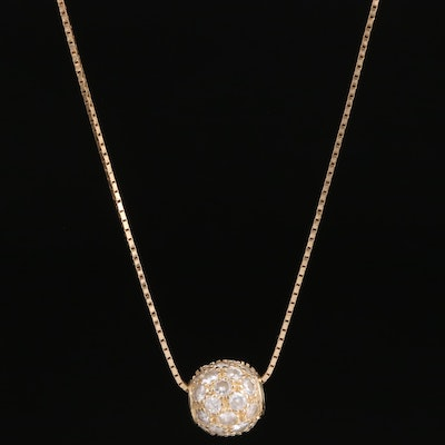 14K Cubic Zirconia Orb Necklace