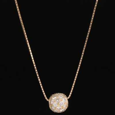 14K Cubic Zirconia Orb Necklace