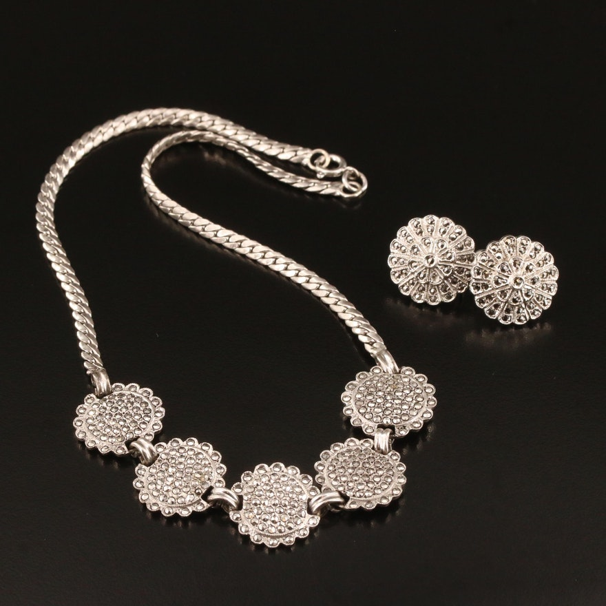 Sterling Silver Marcasite Flower Earrings and Necklace Set