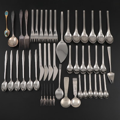 Mid Century Modern Stainless Steel, Silver Plate, and Metal Flatware, Vintage