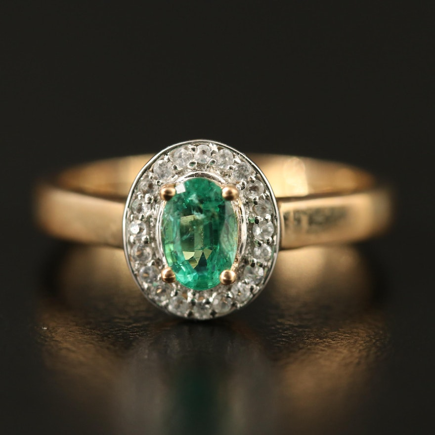 9K Emerald Ring with Spinel Halo