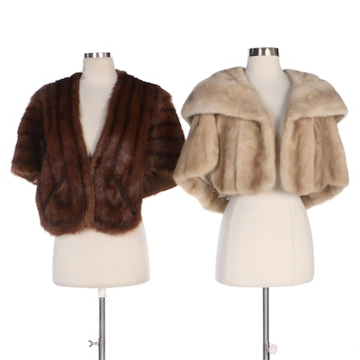Bonwit Teller Mink Fur Capelet with Other Muskrat Fur Capelet, Mid-20th Century