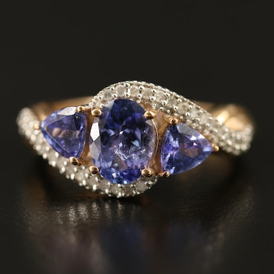 9K Three Stone Tanzanite Ring with Diamond Accents