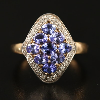 9K Tanzanite Cluster Ring with Spinel Halo
