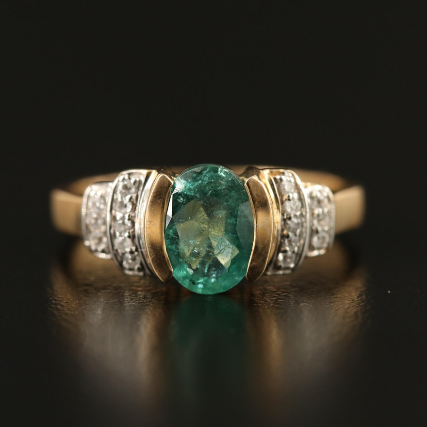 9K Emerald and Spinel Ring