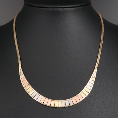 14K Tri-Color Collar Necklace