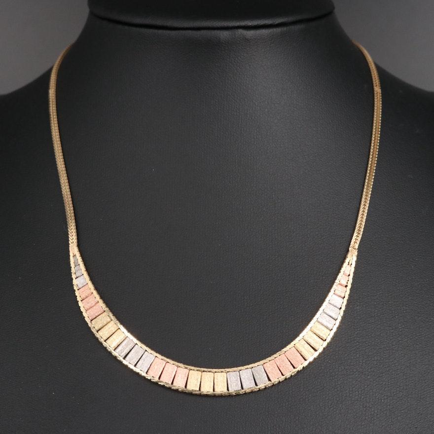 14K Tri-Color Collar Necklace