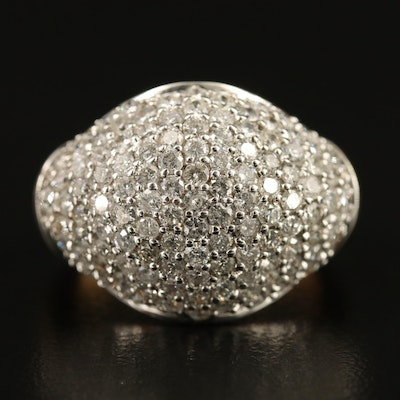 9K 1.80 CTW Pavé Diamond Dome Ring