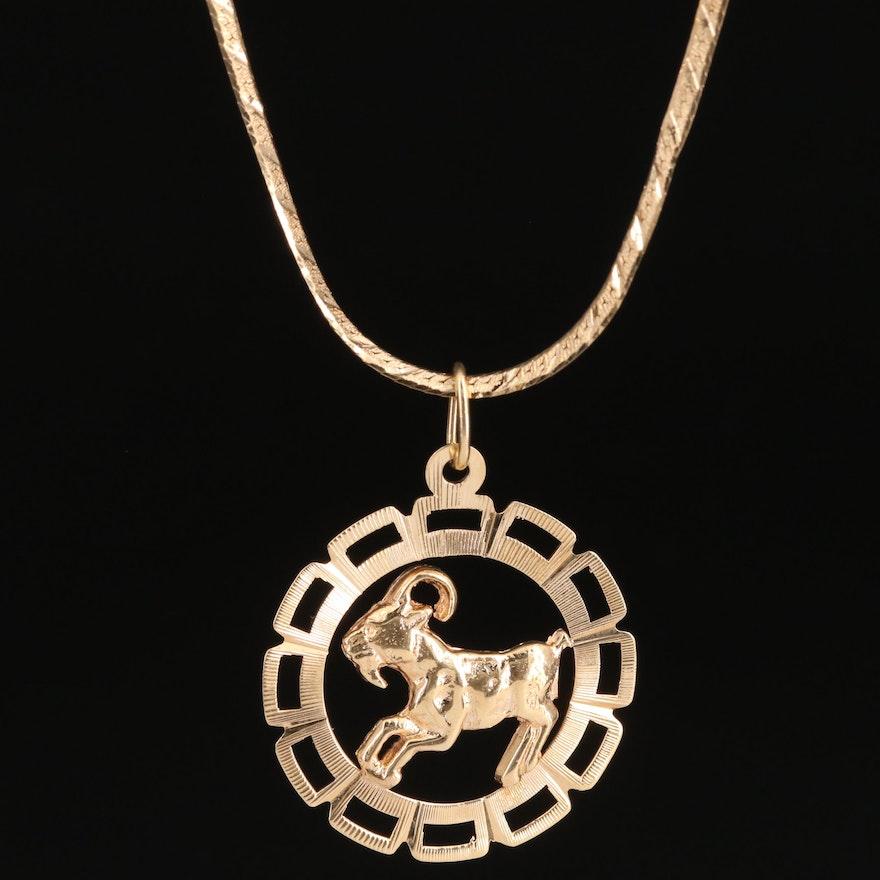 14K Capricorn Necklace