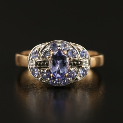 9K Tanzanite and White Sapphire Ring