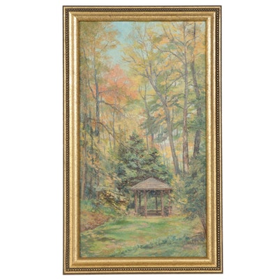 Forest Interior Oil Painting with Gazebo, Late 20th to 21st Century