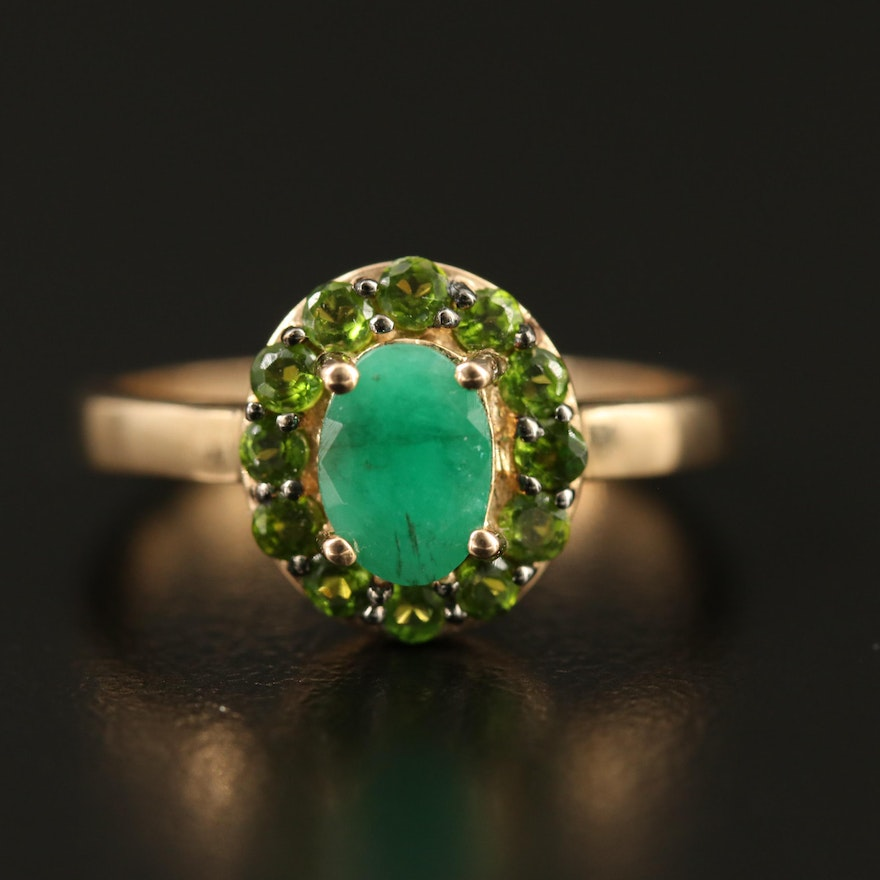 9K Emerald and Diopside Ring