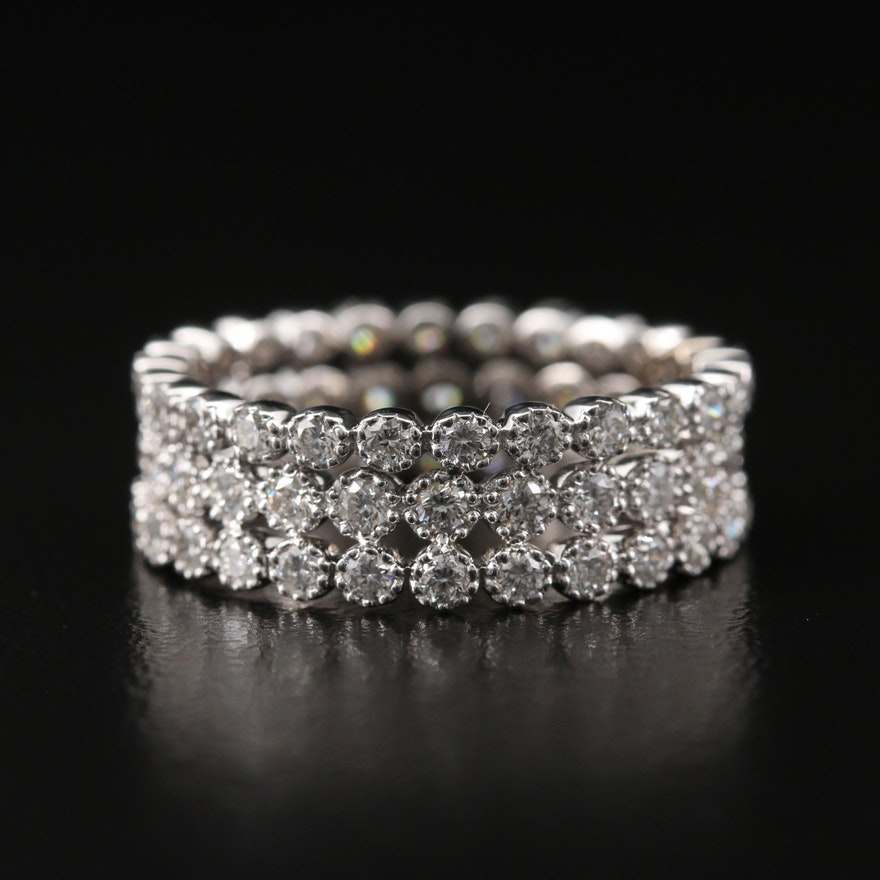 18K Triple Row 1.51 CTW Diamond Eternity Band