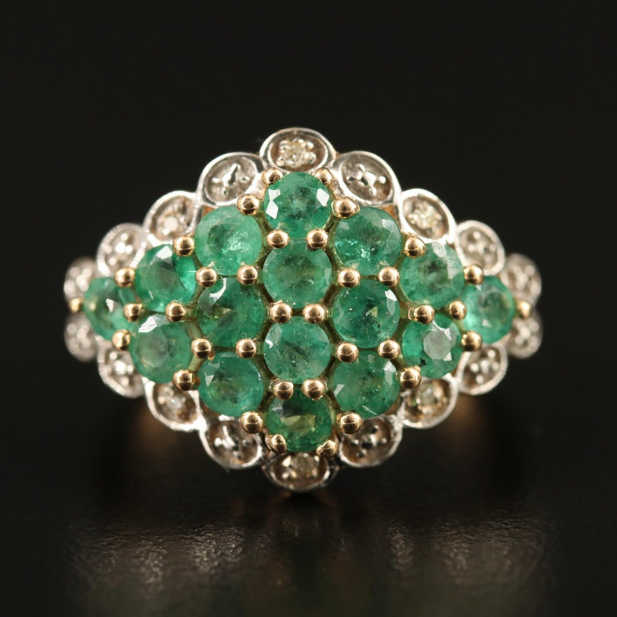 9K Emerald and Diamond Cluster Ring