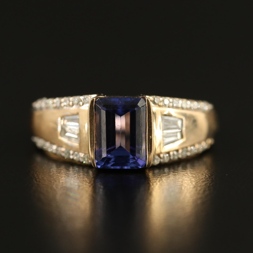 9K Tanzanite and Diamond Ring
