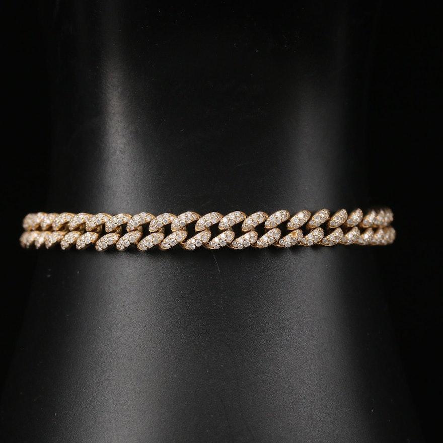 18K 2.78 CTW Diamond Curb Link Bracelet