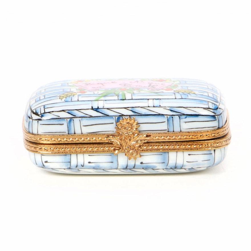 La Gloriette Hand-Painted Porcelain Picnic Basket Limoges Box