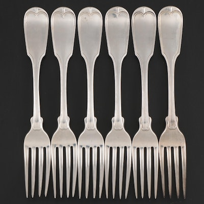Hyde & Goodrich of New Orleans Thread Fiddle Handled Coin Silver Forks, c. 1830