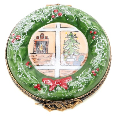 La Gloriette Hand-Painted Christmas Wreath Porcelain Limoges Box