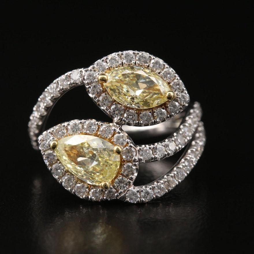 14K 2.15 CTW Diamond Bypass Ring