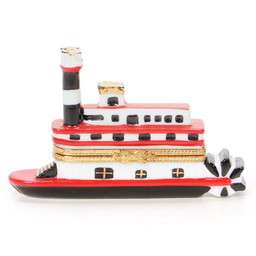 La Gloriette Hand-Painted Porcelain Paddle Boat Limoges Box