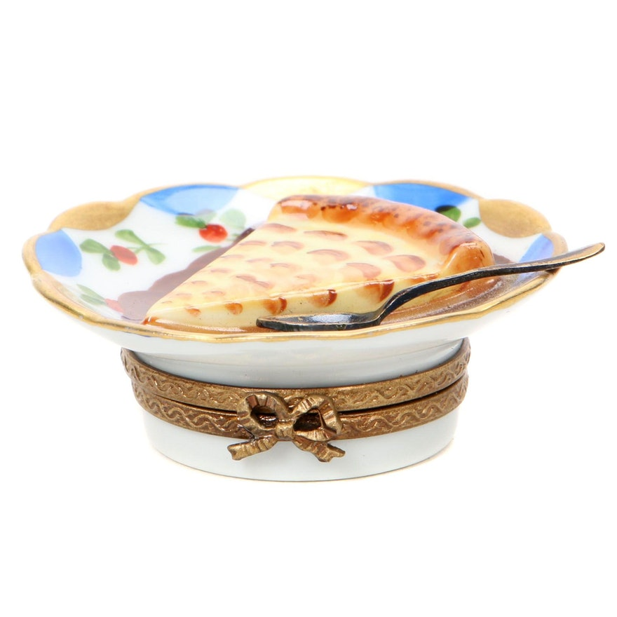 Hand-Painted Porcelain Slice of Pie Limoges Box