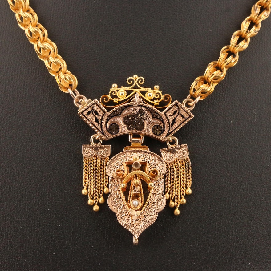 Victorian Taille d'Epargne and Pearl Necklace