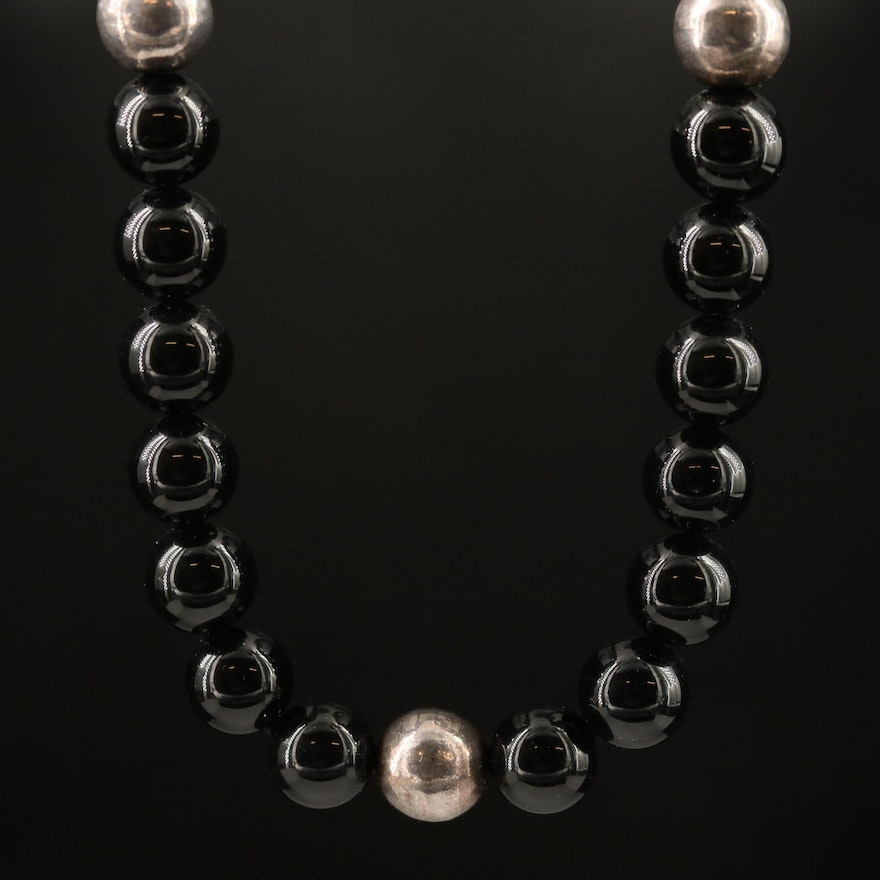 Sterling Silver Black Onyx Beaded Necklace