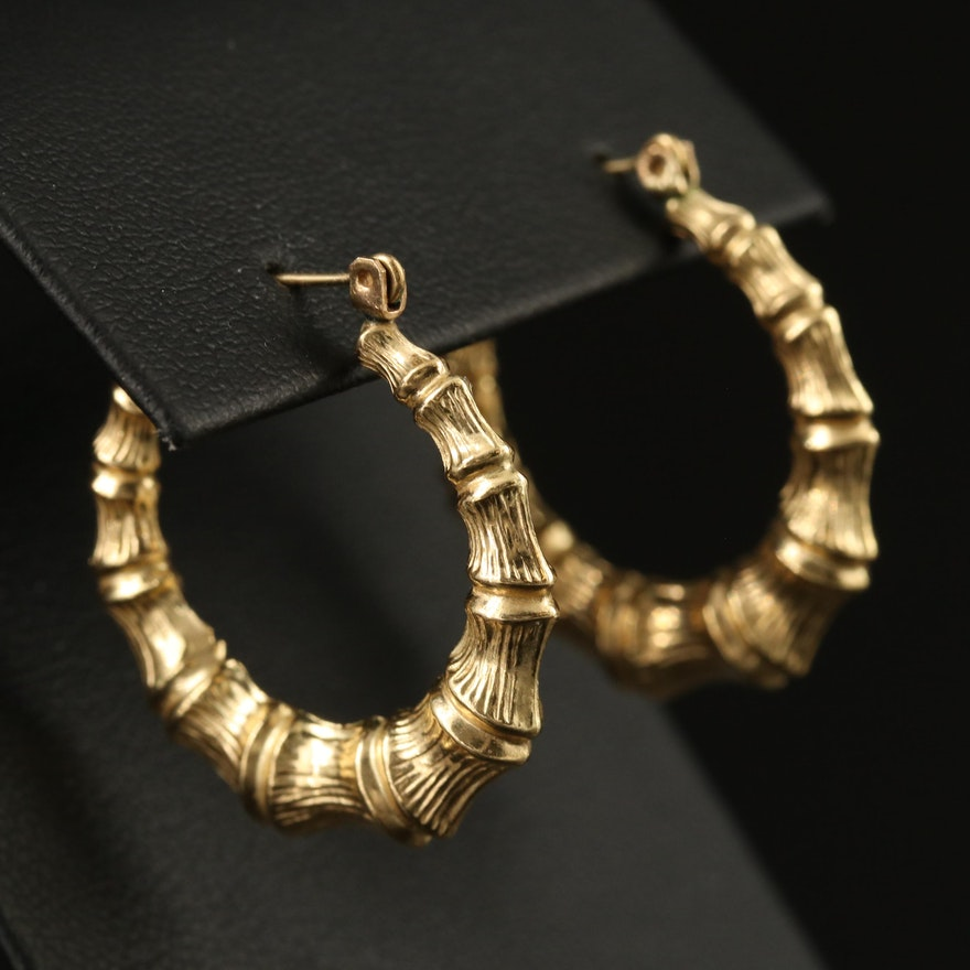 14K Bamboo Puff Hoop Earrings