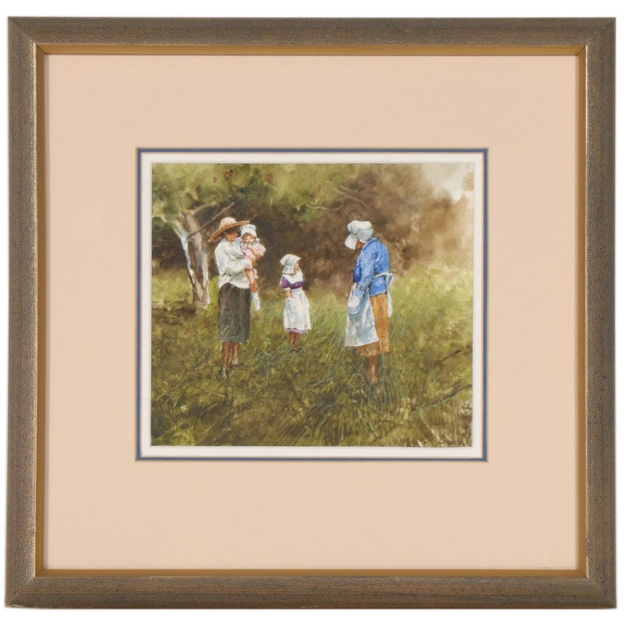 Donny Finley Amish Family Watercolor Painting, Late 20th Century