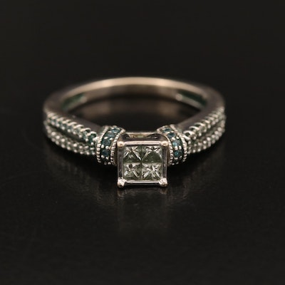 14K Invisible Set Diamond Ring with Diamond Accents