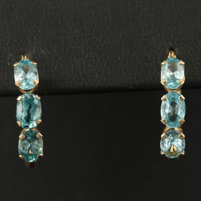 14K Zircon Hoop Earrings