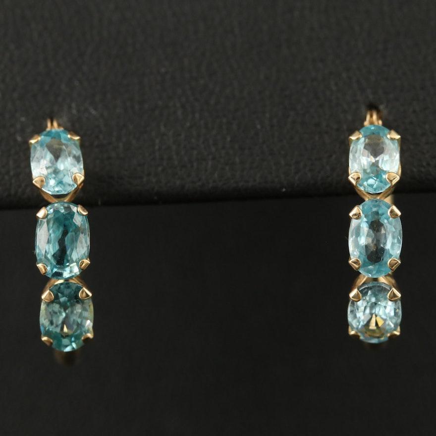 14K Zircon Hoop Earrings