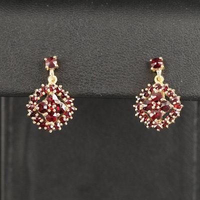 900 Silver Screw Back Garnet Earrings