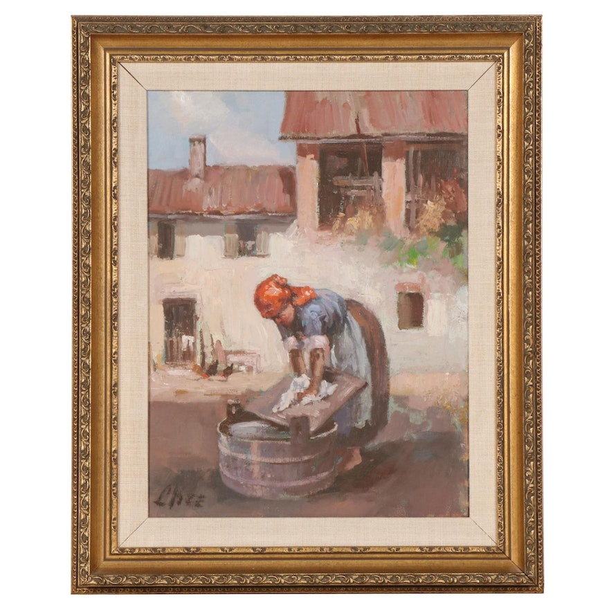 Oil Painting of Woman Washing Clothes with Washboard, Late 20th Century