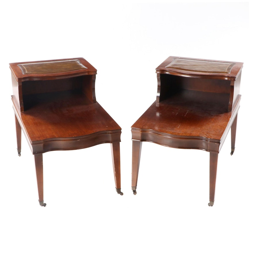 Pair of Mahogany Step Side Tables with Leather Top , Mid-20th Century