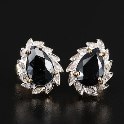 14K 3.70 CTW Sapphire and Diamond Teardrop Stud Earrings