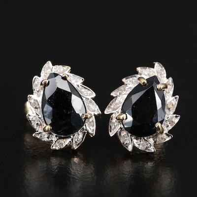 14K 3.70 CTW Sapphire and Diamond Teardrop Stud Earrings