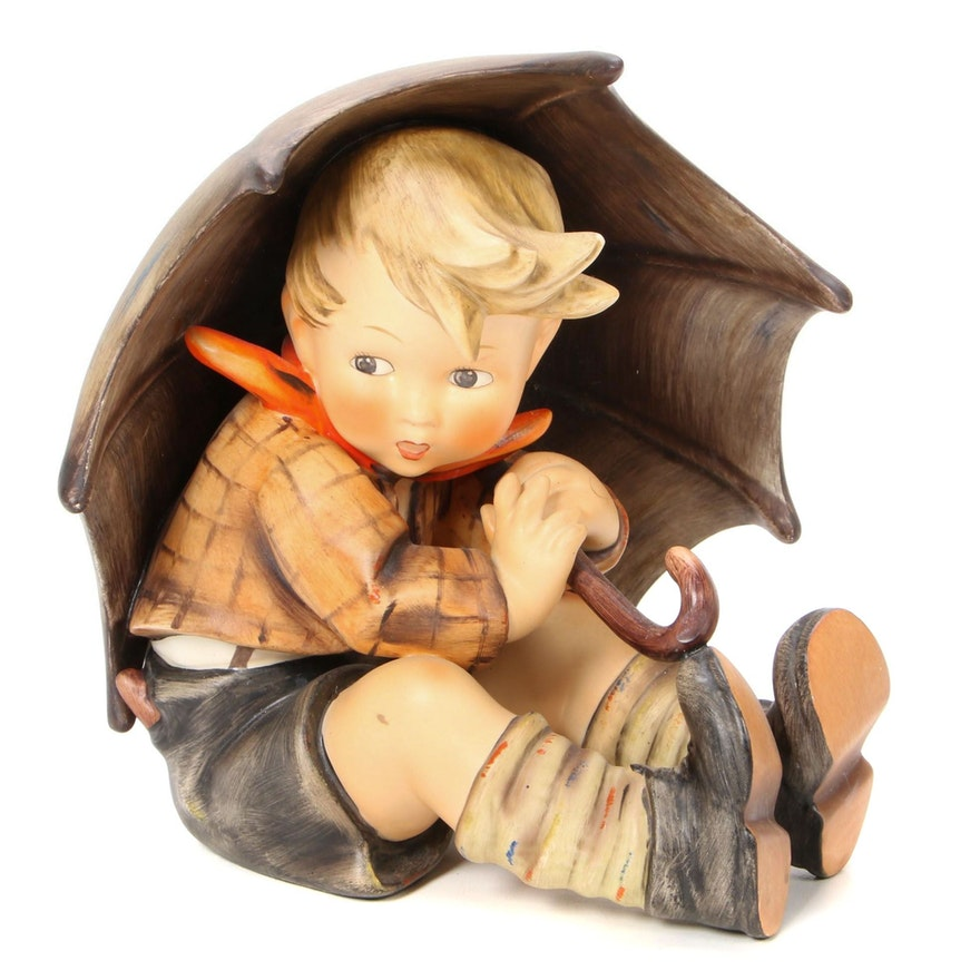 "Goebel ""Umbrella Boy"" Large Hand-Painted Porcelain Hummel Figurine"
