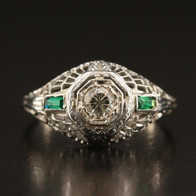 Art Deco 18K Diamond Filigree Ring with Green Glass Accents