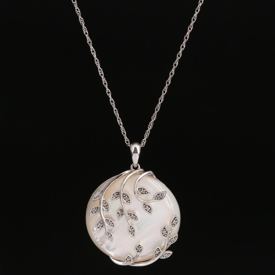 Sterling Mother of Pearl and Diamond Pendant Necklace