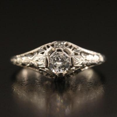 Art Deco 18K Open Work Diamond Ring