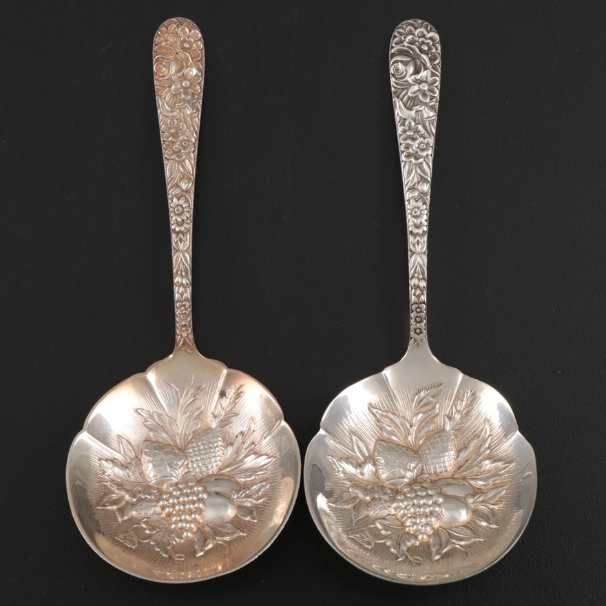 "S. Kirk & Son ""Repousse"" Sterling Silver Berry Spoons, Late 19th/Early 20th C."