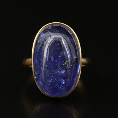 18K 18.19 CT Oval Tanzanite Cabochon Solitaire Ring with GIA Report