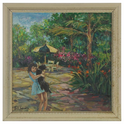 Bill Salamon Acrylic Painting of a Girl and Dog, Late 20th Century