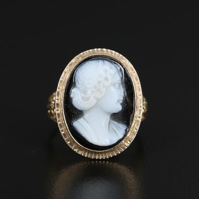 14K Carved Onyx Cameo Ring