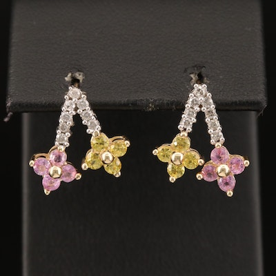 10K Diamond and Sapphire Floral Motif Earrings