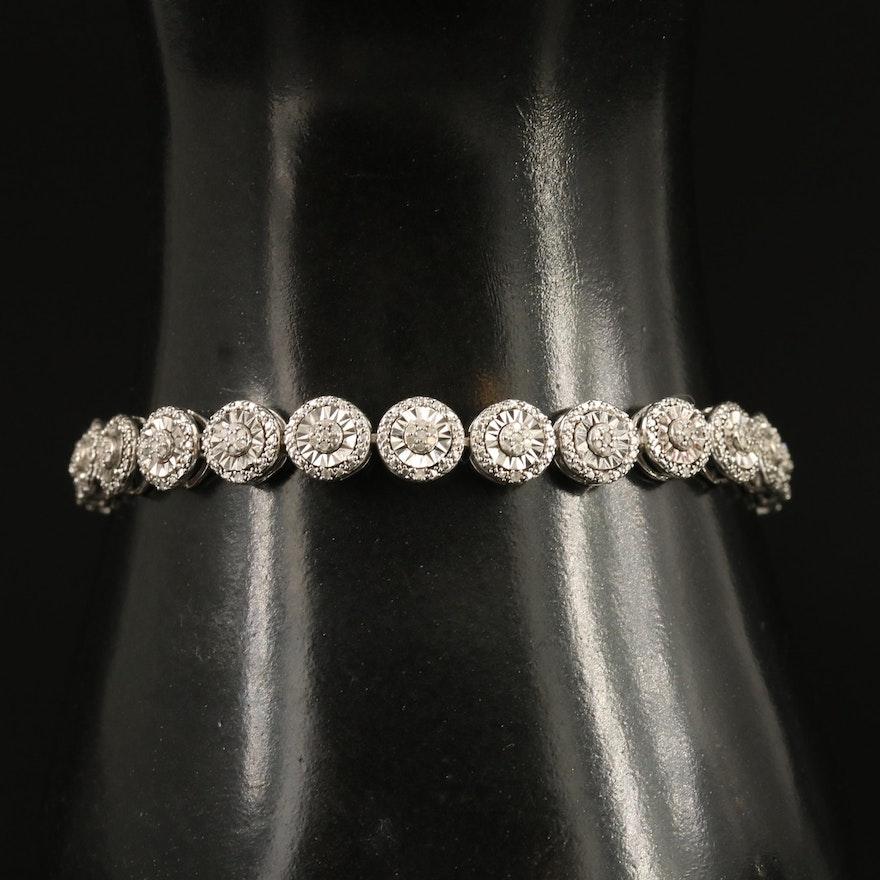 Sterling Diamond Circular Link Bracelet