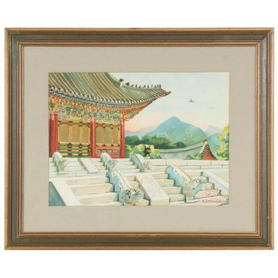 H. Schneider Watercolor Painting of Deoksugung Palace, Early-Mid 20th Century